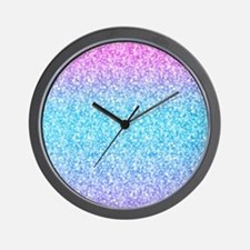 Colorful Retro Glitter And Sparkles Wall Clock
