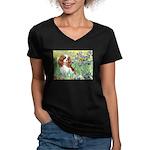 Irises & Cavalier Women's V-Neck Dark T-Shirt