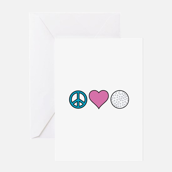 Peace Love Golf Greeting Cards