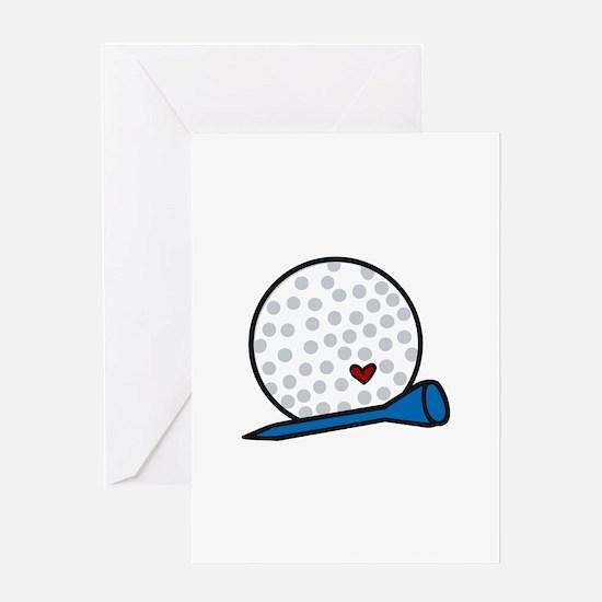 Heart Golf Tee Greeting Cards