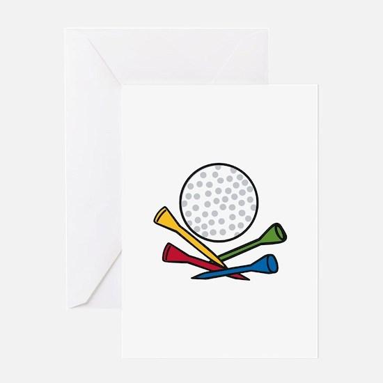 Golf Ball Tees Greeting Cards