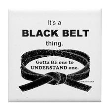 Black Belt Thing Tile Coaster