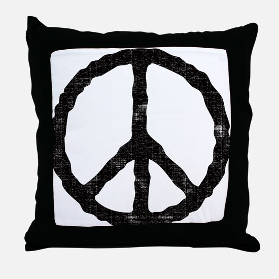 'Vintage' Peace Symbol Throw Pillow