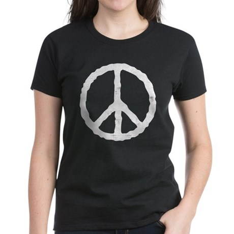 'Vintage' Peace Symbol Women's Dark T-Shirt
