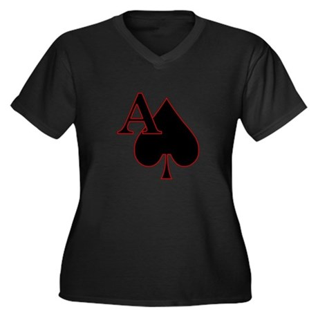 Spade Women's Plus Size V-Neck Dark T-Shirt