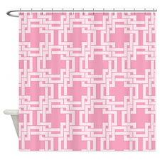 Geometric Art Deco Pink Weave Shower Curtain