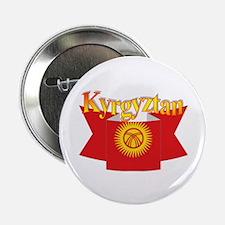 Kyrgytzan flag ribbon Button