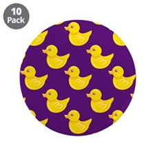 """Purple and Yellow Rubber Duck, Ducky 3.5"""" Button ("""