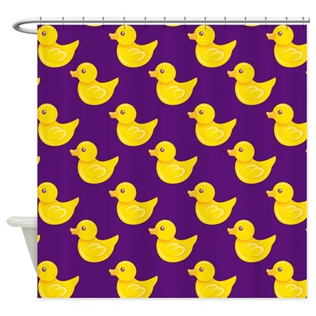 purple and yellow rubber duck ducky shower curtai