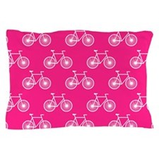 White Bicycle, Cycling Pattern; Neon Pink Pillow C