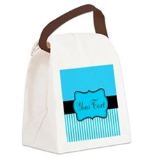Personalizable Teal White Black Canvas Lunch Bag