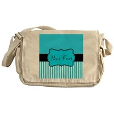 Personalizable Teal White Black Messenger Bag