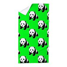 Cute Panda; Neon Green, Black White Beach Towel