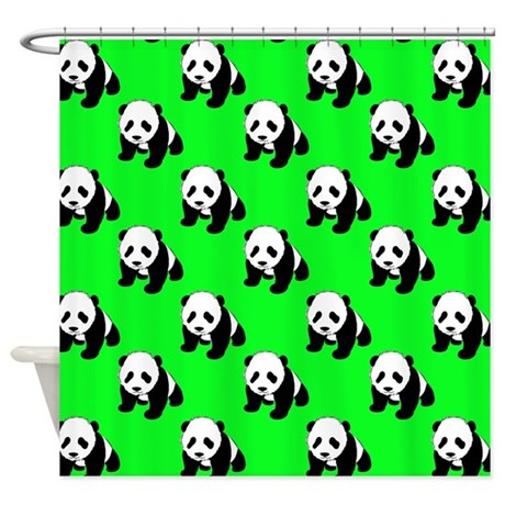 Cute Panda Neon Green Black White Shower Curtain By