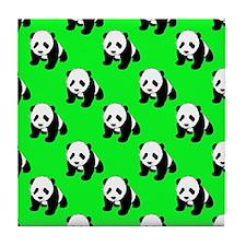 Cute Panda; Neon Green, Black White Tile Coaster