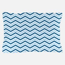 Royal Blue, Baby Blue, White Chevron Stripes Pillo