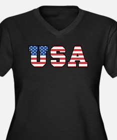 USA [stars&stripes] Women's Plus Size V-Neck Dark