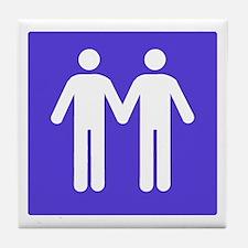GAY BATHROOM SIGN Tile Coaster