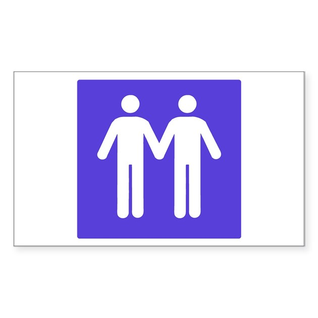 Gay Bathroom Sign Rectangle Decal By Popcultstore