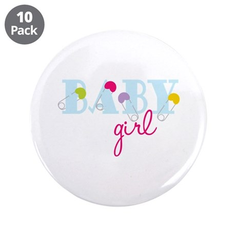 """Baby Girl 3.5"""" Button (10 pack)"""