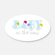 Baby On The Way Oval Car Magnet