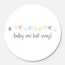 Baby On The Way Round Car Magnet