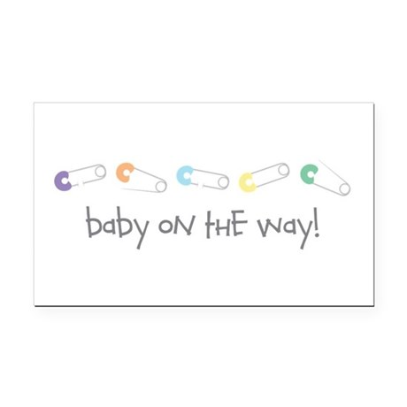 Baby On The Way Rectangle Car Magnet