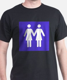 Bathroom Signs Holding Hands lesbian bathroom t-shirts | cafepress