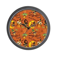 Halloween Owls 2 Wall Clock