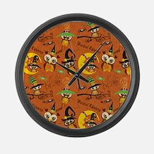 Halloween Owls 2 Large Wall Clock