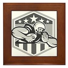 American Football Running Back Fend-Off Crest Gray