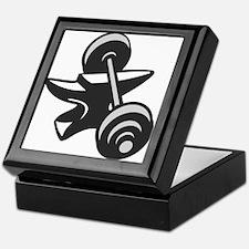 Barbell Dumbbell Anvil Grayscale Keepsake Box