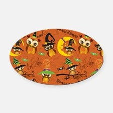 Halloween Owls 2 Oval Car Magnet