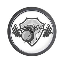 Hand Lifting Barbell Kettlebell Crest Grayscale Wa