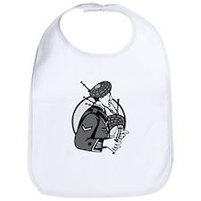 Bagpiper Bagpipes Scotsman Grayscale Retro Bib