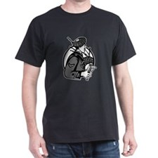 Bagpiper Bagpipes Scotsman Grayscale Retro T-Shirt