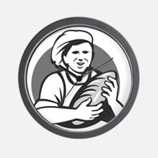 Baker Holding Bread Loaf Grayscale Retro Wall Cloc
