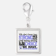 Prostate Cancer HowStrongWeAr Silver Square Charm