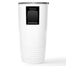 Grey Black Techno 3d Geometric Pattern Thermos Mug