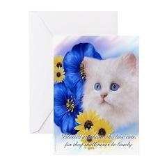 Blue Eyed White Persian Greeting Cards (6)