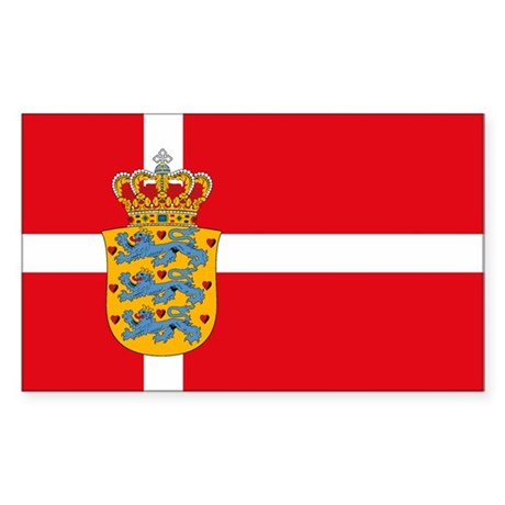 Denmark w/ Coat of Arms Rectangle Sticker