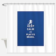 Keep Calm and Play Vs Brasil - FULL Shower Curtain