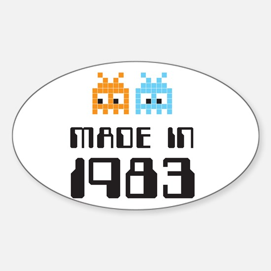 Made In 1983 Retro Arcade Character Oval Decal