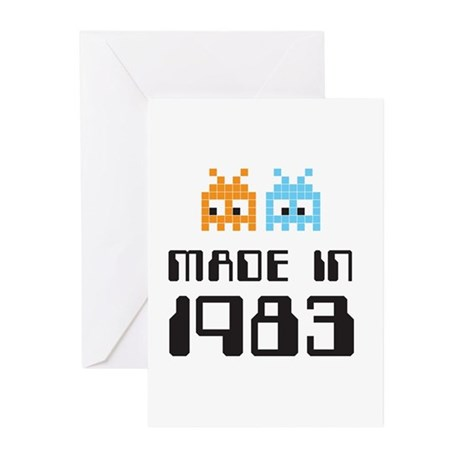 Made In 1983 Retro Arcade Character Greeting Cards