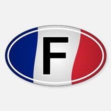 French Oval Car Sticker - Flag Design