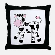 Black and White Dairy Cute Cow Throw Pillow