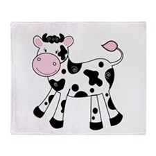 Black and White Dairy Cute Cow Throw Blanket