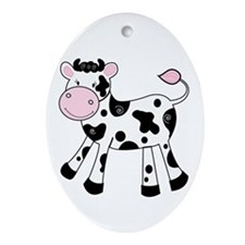 Black And White Dairy Cute Cow Ornament (oval)
