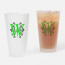 MONOGRAM W BLACK & FLORESCENT GREEN Drinking Glass