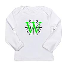 MONOGRAM W BLACK & FLORESCENT GREEN Long Sleeve T-